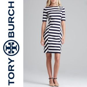 TORY BURCH Augusta Fitted Striped Dress Size Large